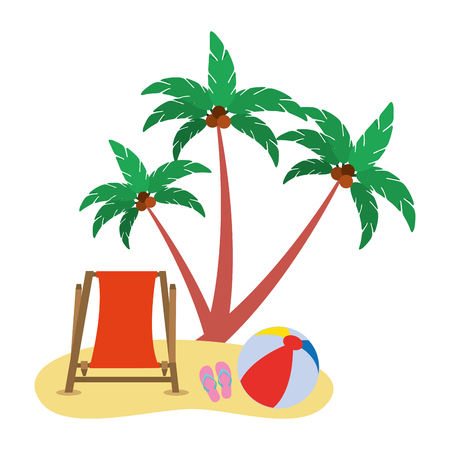 Illustration for beach chair ball sandals and coconut palm vector illustration - Royalty Free Image