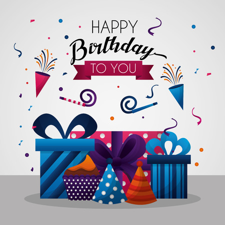 Ilustración de happy birthday card celebration party birth rockets hats gift boxes vector illustration - Imagen libre de derechos