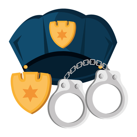 Illustration for police cap and handcuffs vector illustration design - Royalty Free Image