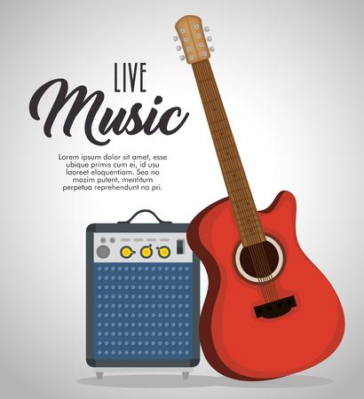 Illustration pour guitar electric instrument label vector illustration design - image libre de droit