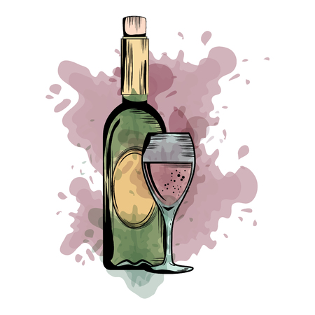 Illustration for wine bottle silhouette with cup vector illustration design - Royalty Free Image