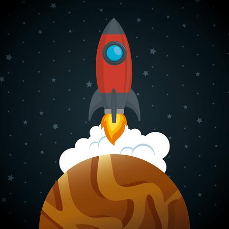 Ilustración de launcher rocket with planet vector illustration design - Imagen libre de derechos