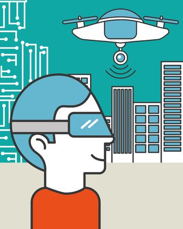 Illustrazione per man using vr goggles drone flying in the city - Immagini Royalty Free