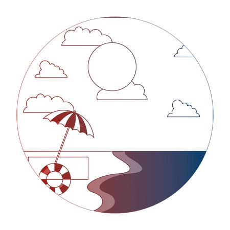 Illustration pour beach shore umbrella float sunny day summer vector illustration neon - image libre de droit