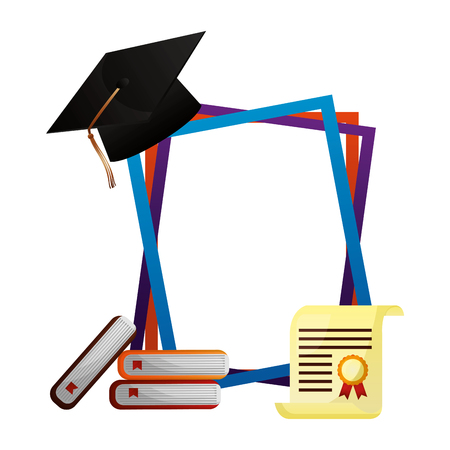 Illustration for graduation hat books certificate frames vector illustration - Royalty Free Image