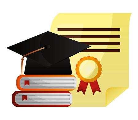 Photo pour graduation hat stack books and diploma vector illustration - image libre de droit