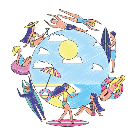 Illustration for people summertime vacation surf float relax vector illustration drawing - Royalty Free Image