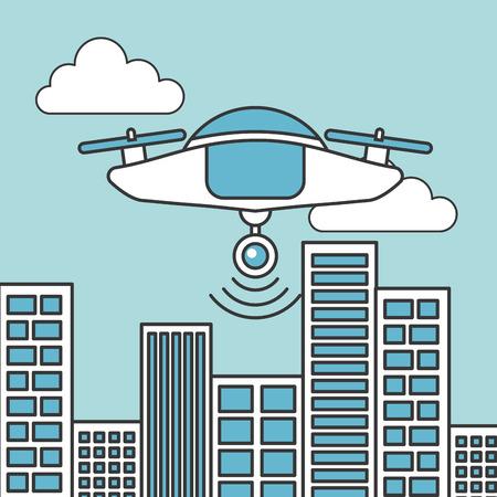 Ilustración de drone technology futuristic flying in the city - Imagen libre de derechos