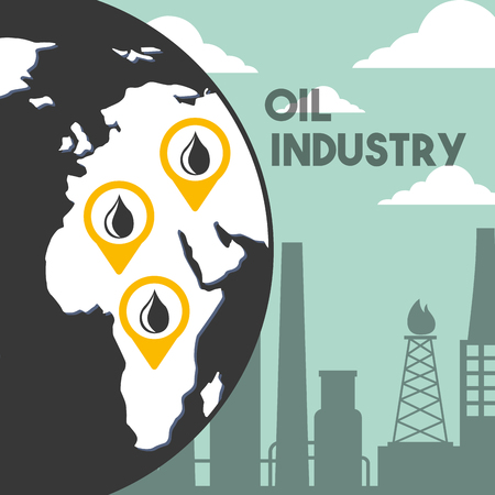 Ilustración de globe world refinery plant location oil industry vector illustration - Imagen libre de derechos