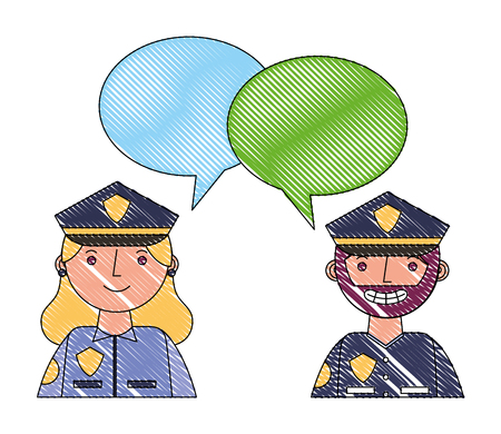 Ilustración de woman and man police portrait speech bubble vector illustration drawing - Imagen libre de derechos