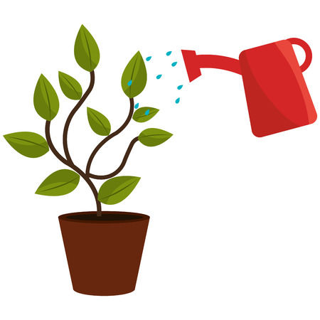Illustration pour plant with sprinkler pot vector illustration design - image libre de droit