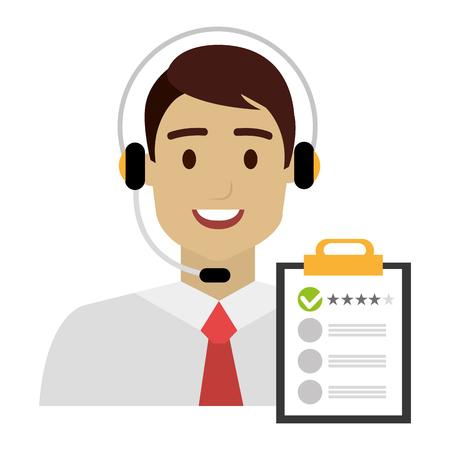 Illustration pour call center agent with headset and checklist vector illustration design - image libre de droit