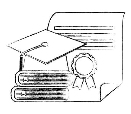 Photo pour graduation hat stack books and diploma vector illustration sketch - image libre de droit