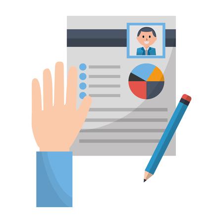 Illustration pour hand with clipboard pencil human resources vector illustration - image libre de droit