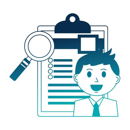 Illustration pour businessman and office clipboard magnifying glass vector illustration - image libre de droit
