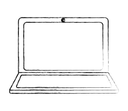 Illustration pour laptop computer device gadget digital vector illustration sketch - image libre de droit