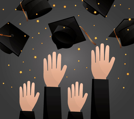 Ilustración de congratulations graduation hands up hats in the air celebration vector illustration - Imagen libre de derechos