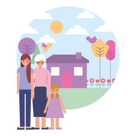Illustration pour grandmother with daughter and granddaughter vector illustration design - image libre de droit