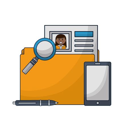 Ilustración de folder human resources smartphone magnifying glass and pen vector illustration - Imagen libre de derechos
