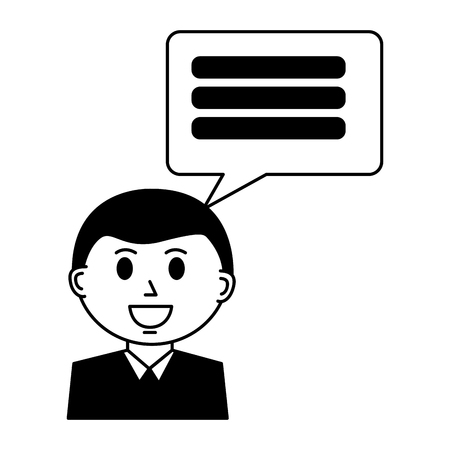 Illustration pour business man with speech bubble vector illustration design - image libre de droit