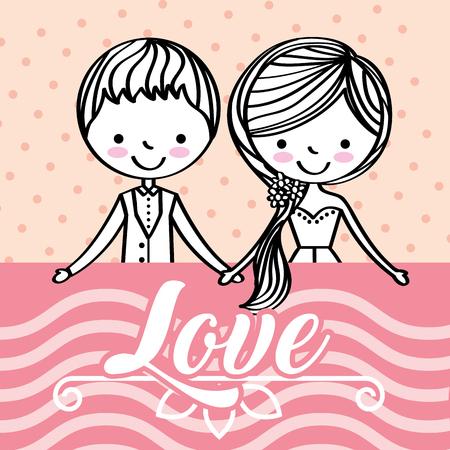 Illustration pour cute wedding couple holding hands together love vector illustration - image libre de droit