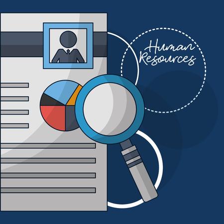 Illustration pour human resources magnifying resumen person vector illustration - image libre de droit