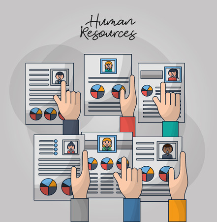 Illustration pour human resources hands holding pointed choose people curriculum vector illustration - image libre de droit