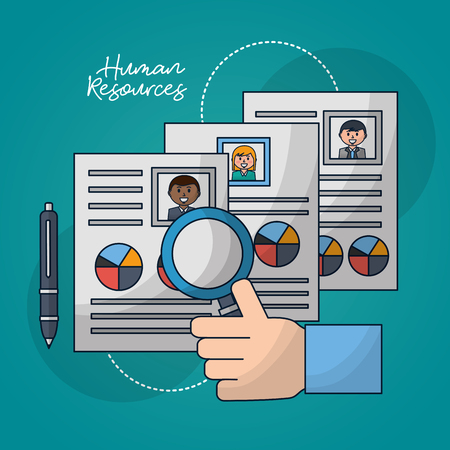 Illustration pour human resources hand with finger up curriculum pen search vector illustration - image libre de droit