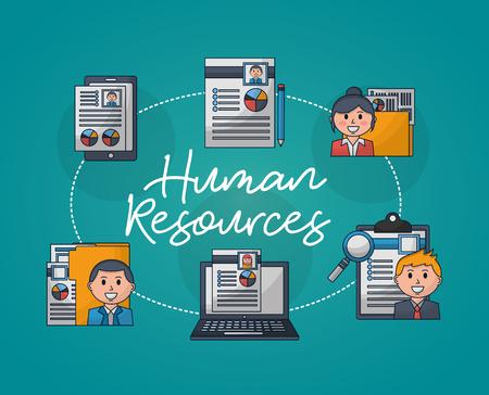 Illustration pour human resources curriculums computer resumen people folder vector illustration - image libre de droit