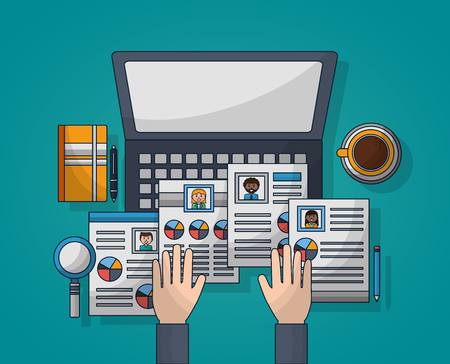Illustration pour human resources computer colors curriculums coffee diary search vector illustration - image libre de droit