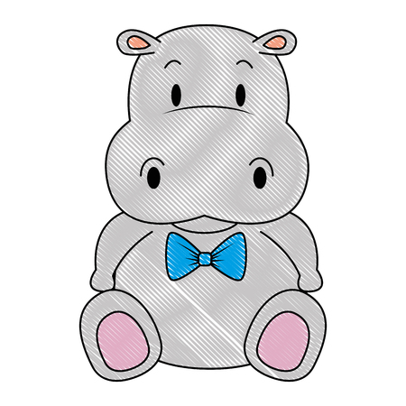 Illustration for cute and adorable hippo character vector illustration design - Royalty Free Image