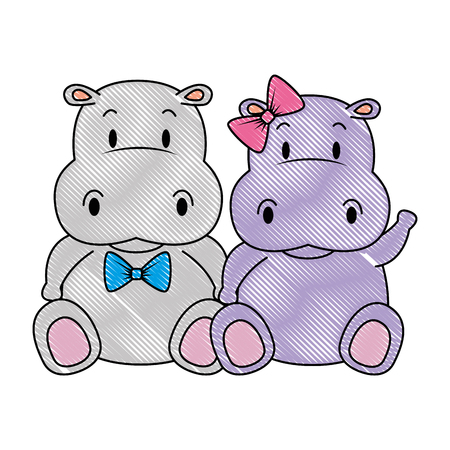 Illustration for cute and adorable hippo couple characters vector illustration design - Royalty Free Image