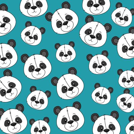 Ilustración de cute and adorable panda bear pattern background vector illustration design - Imagen libre de derechos