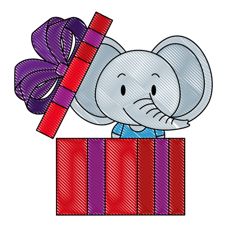 Ilustración de cute and adorable elephant in gift vector illustration design - Imagen libre de derechos