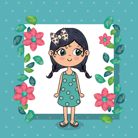 Ilustración de beautiful girl with floral frame kawaii character vector illustration design - Imagen libre de derechos