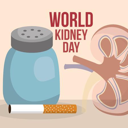 Illustrazione per world kidney day human organ salt and cigarette vector illustration - Immagini Royalty Free