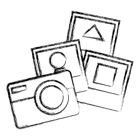 Illustration pour camera photographic with pictures vector illustration design - image libre de droit