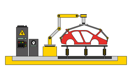 Illustration for body of car on the assembly line the conveyor at the factory vector illustration - Royalty Free Image