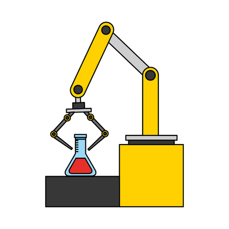 Illustration pour robotic hand machine with tube test vector illustration design - image libre de droit