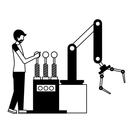 Illustration pour operator with robotic hand machine icon vector illustration design - image libre de droit