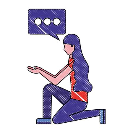 Ilustración de woman in the knee with speech bubble vector illustration - Imagen libre de derechos
