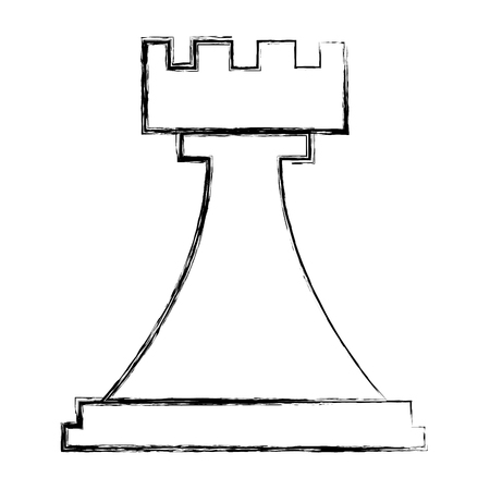 Illustration for figure chess rook piece icon vector illustration hand drawing - Royalty Free Image