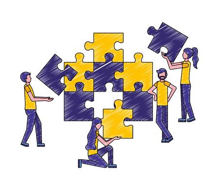 Ilustración de people connecting puzzle pieces the puzzle vector illustration - Imagen libre de derechos