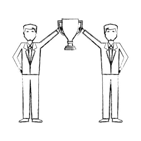 Illustration for business men holding trophy award success vector illustration hand drawing - Royalty Free Image