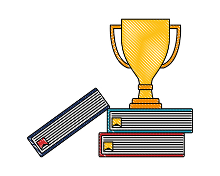 Illustration pour trophy award winner on books top vector illustration color drawing - image libre de droit