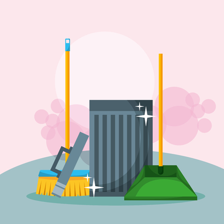 Illustration for open trash can broom and dustpan cleaning vector illustration - Royalty Free Image