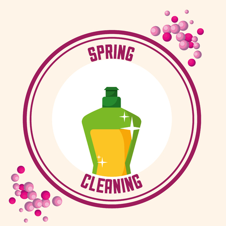 Ilustración de liquid laundry detergent sticker spring cleaning vector illustration - Imagen libre de derechos