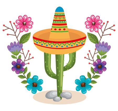 Ilustración de mexican culture cactus and hat vector illustration design - Imagen libre de derechos