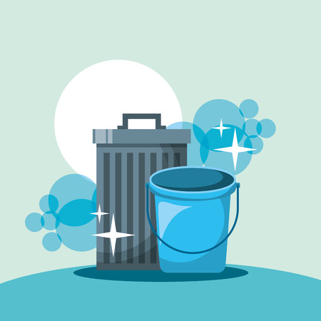 Ilustración de trash can bucket cleaning tools vector illustration - Imagen libre de derechos