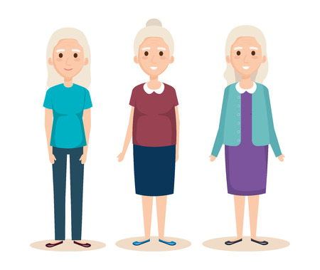 Illustration for cute grandmothers avatars characters vector illustration design - Royalty Free Image